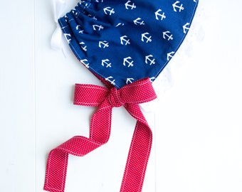 Ruffled Baby Bonnet-Anchors Away-Navy and Red-White Eyelet Ruffle-Nautical Baby Bonnet