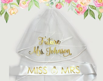 Bachelorette Veil and Sash, Future Mrs Veil, Personalized Veil, Bride to Be Sash, Bachelorette Party Veil, Bridal Shower Veil and Sash