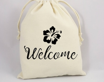 Wedding Welcome Bag, Welcome Party Bag, Canvas Party Bag, Thank You Party Favor Bag, Goodie Bag, Hawaii Party Favor