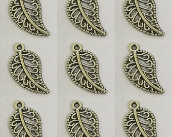 Antique Silver Tone 19x11mm Leaf Charms 10PC 50PC