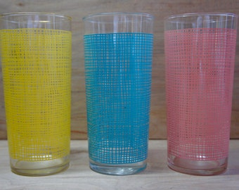 Vintage Mid Century Retro Highball Drinking Glasses/ Graphic Pattern/ Set of Three/ 1950s