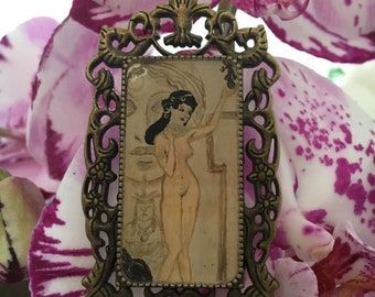"Gustav Klimt pendat, ""The allegory of sculpture"" hand painted jewelery"