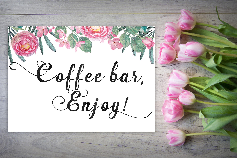 Wedding coffee sign, coffee bar sign, rustic wedding sign, printable ...
