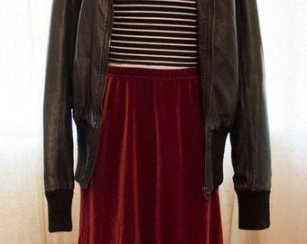 Velvet Skirt 90s Grunge - Burgundy Skirt with Elastic Waist - Red Midi Skirt - 1990s Grunge Punk Goth Velvet