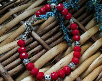 Red Bead Bracelet, Red Bracelet, Valentine's Gift For Her, Red Beaded Bracelet, Metal Bracelet |  Shop for a Cause | Jewelry for a Cause