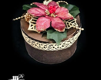 Pink and Brown Paper Mache Jewelry Box, Christmas Pointsettia, Gold Leaves, Glitter, Sparkly, Gold, Decoration, Trinket Box, Beautiful, Cute