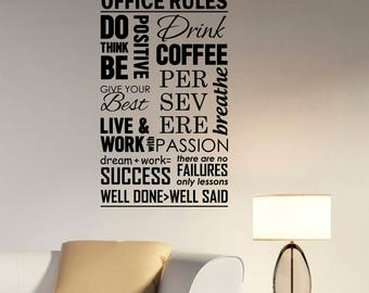 Office Rules Decal Vinyl Lettering Work Positive Business Success Inspirational Quotes Wall Sticker Art Inspire Home Motivational Decor hq33