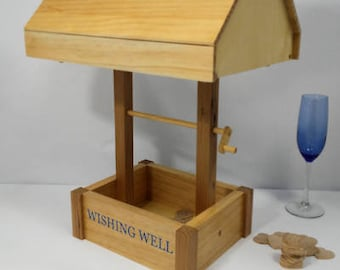 Wishing Well Wedding card box, Event card box, wooden card box handmade custom lettering card box