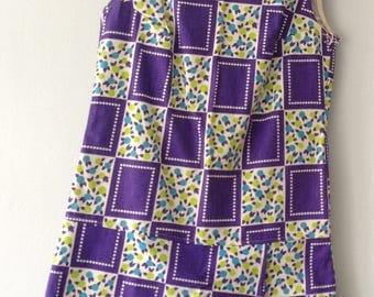 1970s Vintage Purple Cotton Dropwaist & Sleeveless  Skort Dress