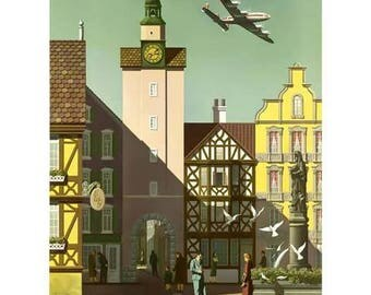 Germany Travel Poster - Vintage Fly TWA Travel Print Art - Home Decor