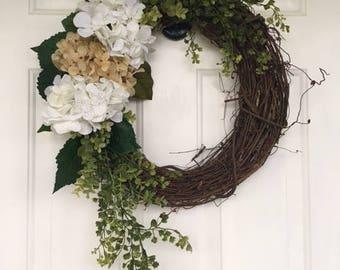 Everyday Wreath, Hydrangea Spring Wreath, Hydrangea Summer Wreath, Front Door Wreath, Monogram Wreath, Door Wreath