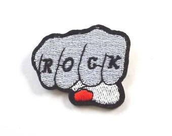 ROCK Fist Patch, Clenched Fist Patch, ROCK Fist Iron on Patch, Punch Patch, Punch Iron on Patch, ROCK Patch - H1135
