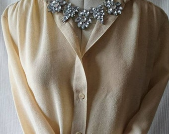 Vintage 1970's Planet Beige Linen   Look Pleated Long Sleeved Blouse BoutiqueByDanielle
