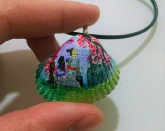 Mulan necklace,painted, scene, father, jewelry, China, disney