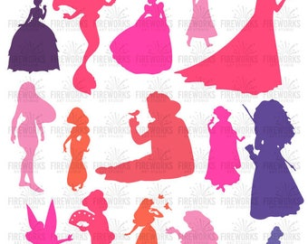 Disney Princess Silhouettes svg file, Disney Princess Clip art, disney princess svg, INSTANT DOWNLOAD - svg, png, dxf, eps, jpg