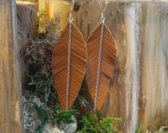 Genuine Leather Feather Earrings/Leather Statement Earrings/Boho Chic Earrings/Leather Drop Earrings/Victorian Embellished Earrings