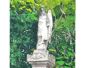 London Art Print - Angel Statue at Nunhead Cemetery