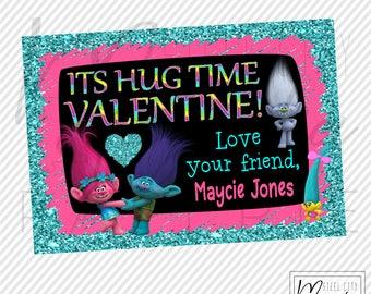 Trolls Glitter Valentine Printable, It's Hug Time Valentine, Personalized digital printable