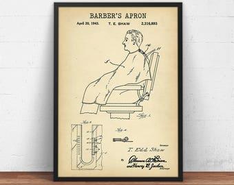 Barber Apron Patent Print, Barber Shop Decor, Barber Poster, Barber Apron Wall Art, Barber Art Print, Barber Gift, Barber Apron Invention