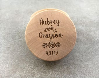 Engraved Ring Box With Flowers Personalized Ring Box Engraved Wedding Ring Box Rustic Ring Box Wedding Ring Holder Ring Bearer Box