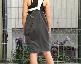 Lagenlook Rustic Pinafore Dress | Asymmetric Pinafore | Genuine Leather Stripes Pinafore Dress | Summer Autumn Smock Pinafore