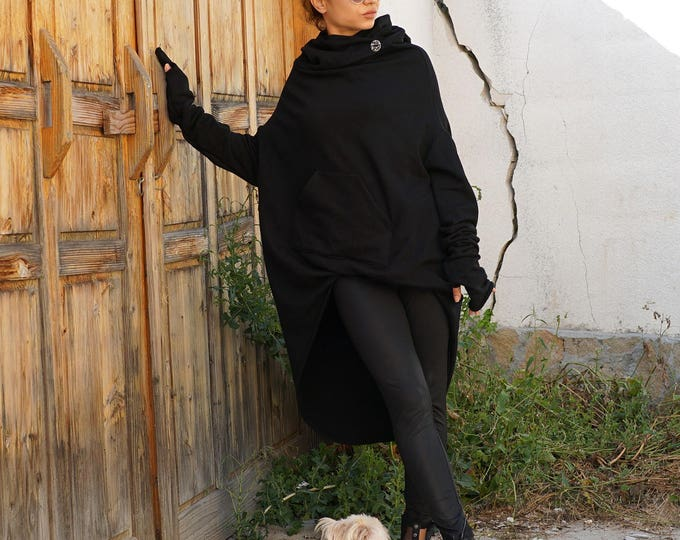 Featured listing image: Cozy Warm Loose Hoodie, Hooded Asymmetric Top Tunic, Autumn Winter Cosmonaut Hoodie Top, Black Cotton Extra Long Sleeves Hoodie