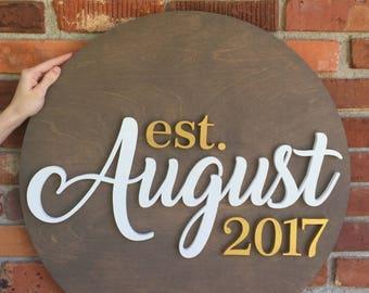 """24"""" Round Wood Sign, Established Sign, EST Sign, Family Sign, Last Name Sign, Wood Name Sign, Wood Cutout, Custom Wood Sign"""