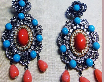 Vintage Larry Vrba huge  turquoise and coral clip earrings. Signed LAWRENCE VRBA