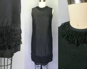 pinnacle / 1960s black shift dress with shimmer fringe trim / small