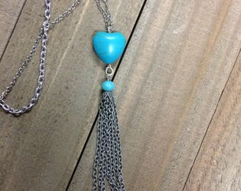 Turquoise necklace, Heart necklace, Tassel necklace, Silver necklace, Statement necklace