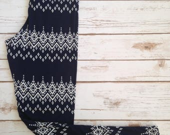 Kids Brushed Poly Leggings, Abstract White Snowfall Bands on Navy