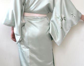 Silk long kimono robe/japanese vintage full length kimono robe gown dress/authentic mint green floral tsukesage visiting silk robe/geisha