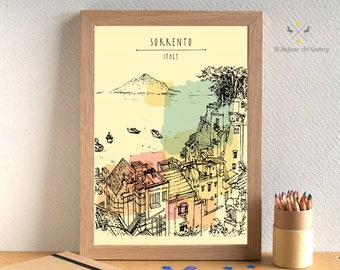Sorrento print, Sorrento Italy art, Sorrento Italy, Italy Print download, Watercolor, Sea poster, Mountain Printable Wall Art, City prints