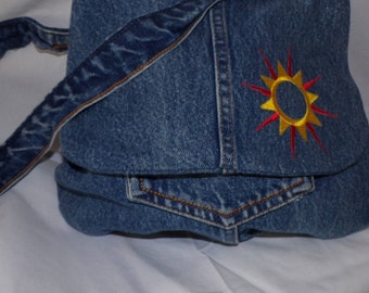 recycled jeans shoulder bag with embroidered detail on front flap