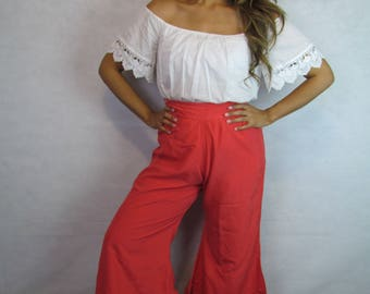 Hot Tamale- Vintage 70s Red Silk Bell Bottom Pants/ 100% Pure Japanese Silk Pants/ Vintage Palazzo Pants/ High Waisted Bell Bottoms