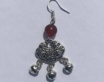 Tibetian Silver with Ruby Hook and Dangle Earrings