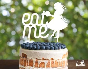 Eat me Birthday Cake Topper- Customizable Birthday CakeTopper- Eat me Cake Topper- Silhouette girl Cake Topper- Personalized cake topper