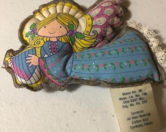 Vintage, Hallmark, Fabric, Angel with Harp, Ornament