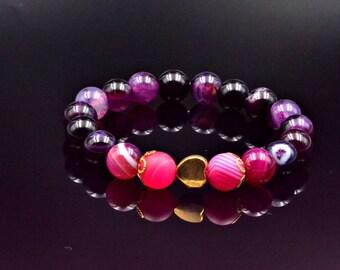 Women's Elastic Bracelet Purple Agate Bracelet Beaded Bracelet Gemstone Bracelet Agate Bead Bracelet Stretch Bracelet Gift for Women