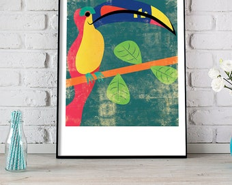 Toucan Print, Toucan Art, Toucan Bird, Exotic Bird Print, Nursery Decor, Tropical Bird Art Print, Animal Print, Bird Art Print, Retro Toucan