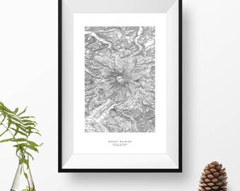 Mount Rainier, Washington   Topographic Print, Contour Map, Map Art   Home or Office Decor, Gift for Wilderness Lover, Camper, or Hiker