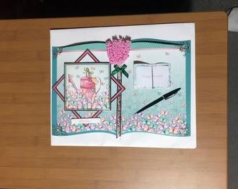 Large Open Book Style Female Birthday Card -Flowers/Butterflies - luxury personalised bespoke UK Mum/Daughter/Sister/Niece/Grandma/Wife