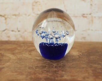 Cobalt Blue Bubble Paperweight