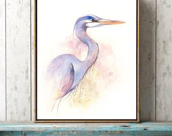 "17 x 22"" Great Blue Heron Watercolor Painting. Fine Art Print. Decor. Giclée"