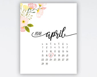 CUSTOM, Pregnancy Announcement Calendar Flowers #30 calendar with due date Heart date Personalized wedding announcement Save the date cards