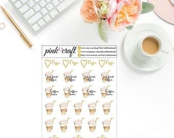Coffee // 25 Planner Stickers // Functional stickers // Life planner stickers // Happy planner // Personal planner // Erin Condren planner