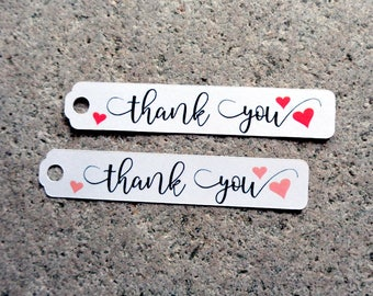 Thank You Tags with Hearts for Wedding Favors Bridal Showers Custom Color Heart Thank You Wedding Favor Tags