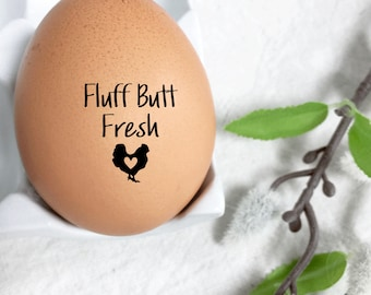 Egg Stamp - Fluff Butt Fresh - Mini Egg Stamp - Chickens - Egg Stamps - Chicken Stamp - Fresh Eggs - Chicken Lover - FarmhouseMaven