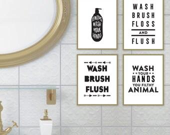 wash brush floss flush bathroom printable kids bathroom art bathroom art print bathroom