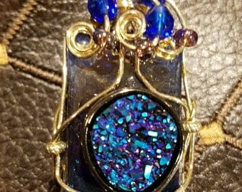 Glass, Wire and Bead Pendant